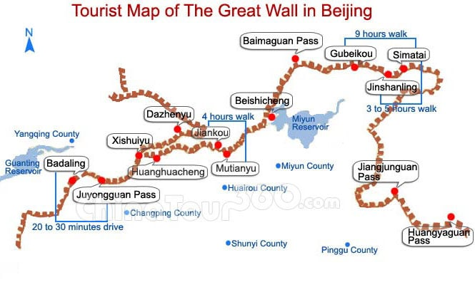 Tourist map of Great Wall of China (showing various sections)