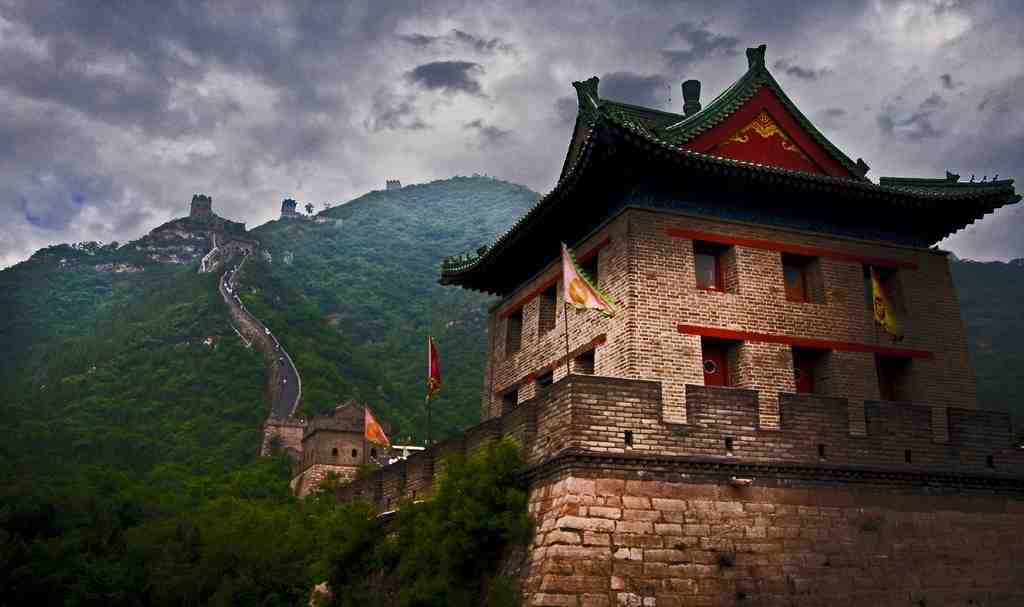A big structure of the Great Wall of China during a cloudy day