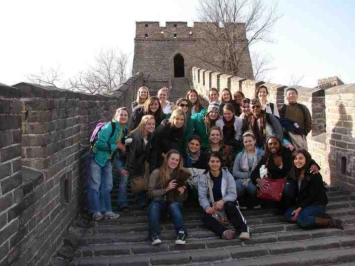 A tour group on the Great Wall of China