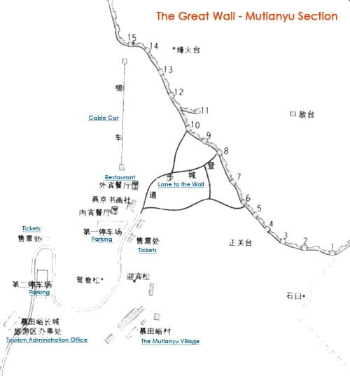 Mutianyu Section Map