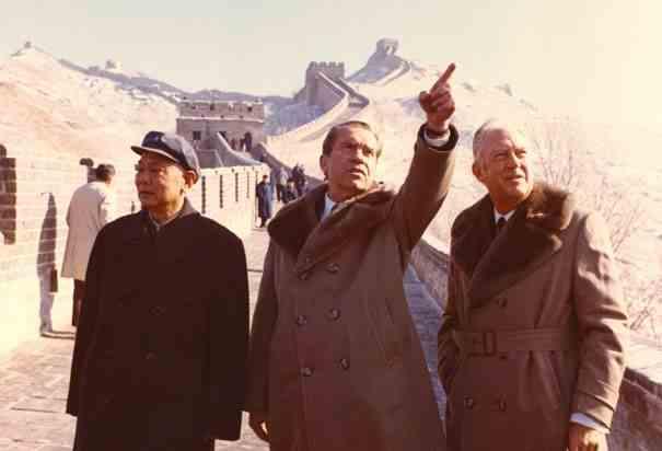 President Richard Nixon visiting the Great Wall of China