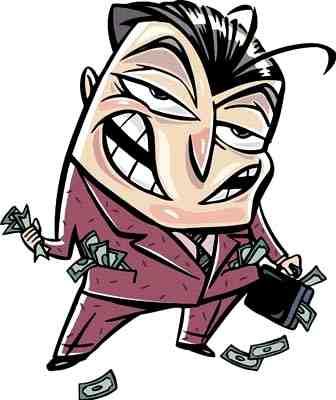 A cartoon scammer