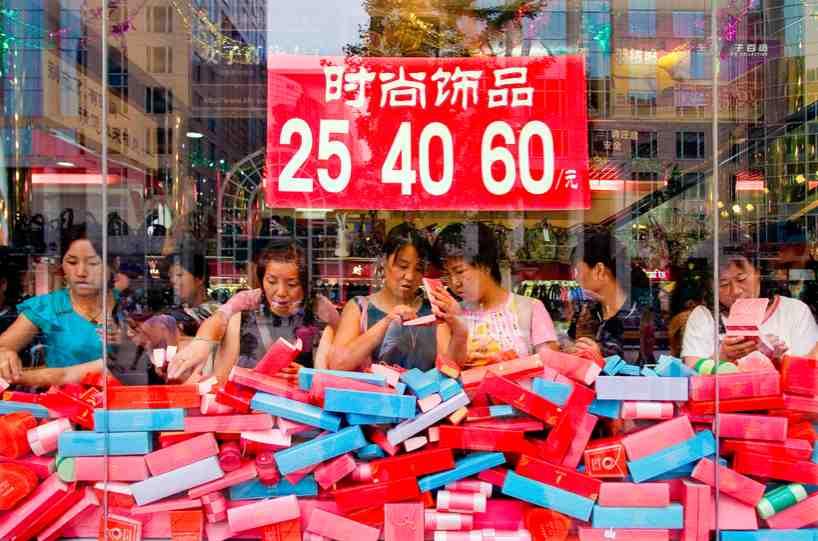 Bargaining in China being done at a shoe store