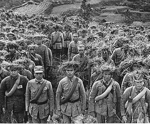 A black and white photo depicting the Chinese military