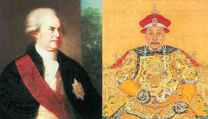 A painting of Lord Macartney and a paniting of a Qing emperor.