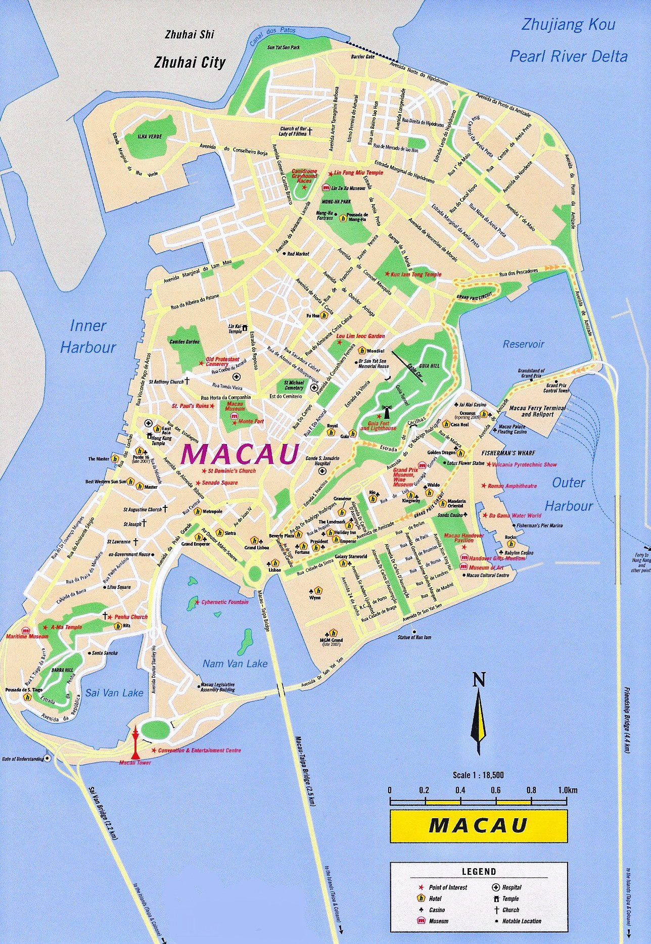 Macau travel map 20102011 Printable Macau tourist maps