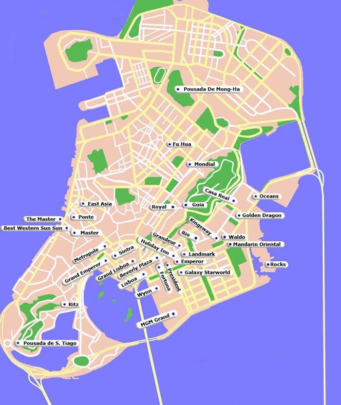 Macau map showing Major hotels