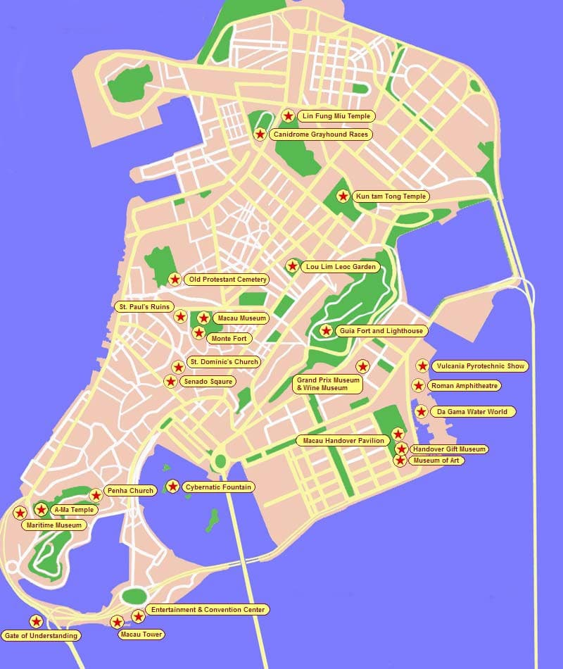 Macau map showing major tourist sites