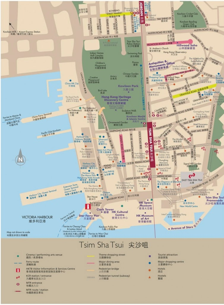 Tsim Sha Tsui tourist map showing top attractions, etc.