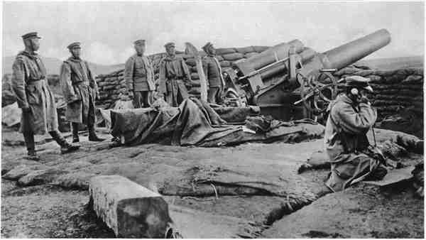 Japanese troops shelling Qingdao