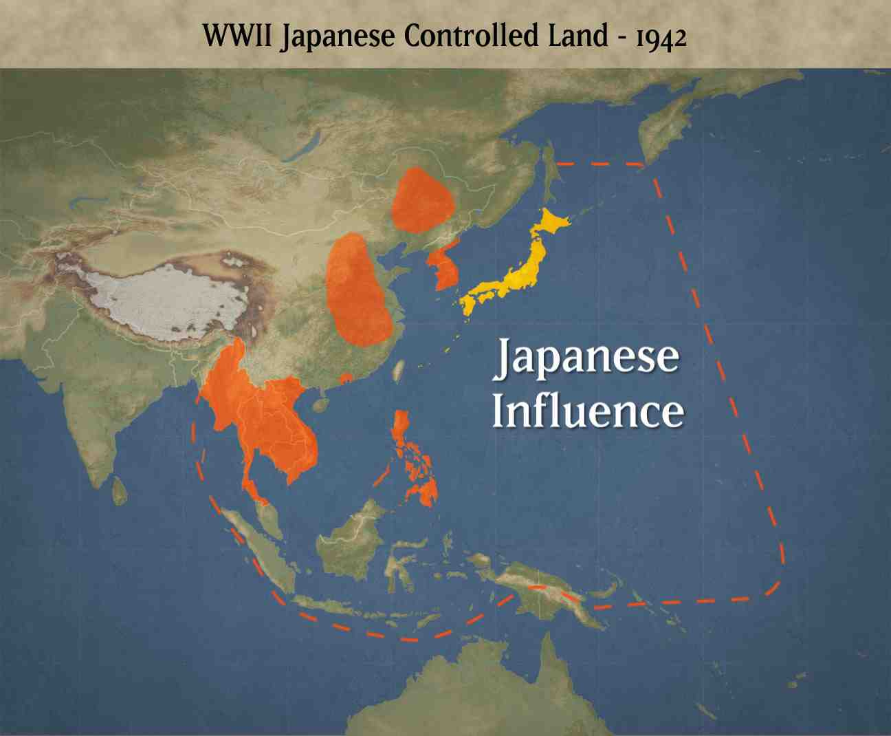 A map of the Japanese controlled land in 1942 during WWII