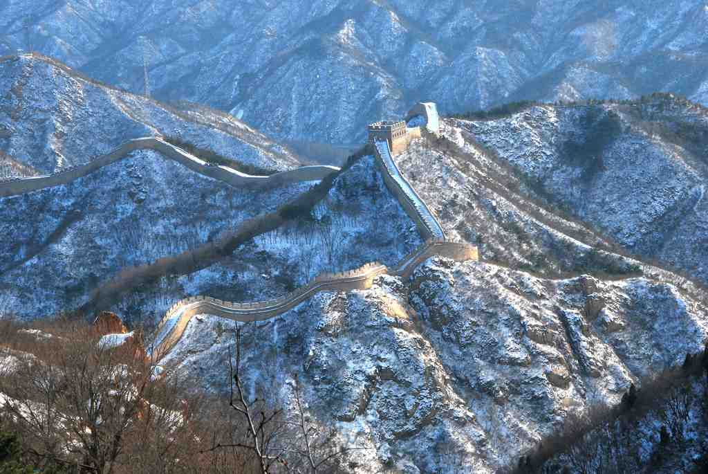 The Great Wall of China under a blanket of snow
