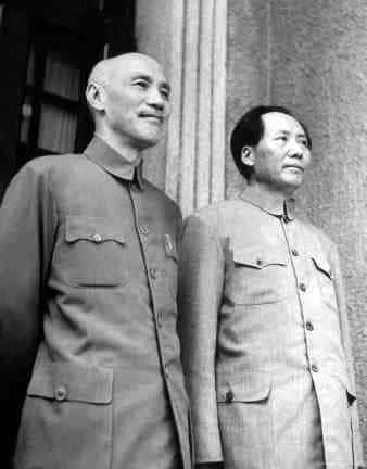 A black and white photo of Chiang Kai-shek with Mao