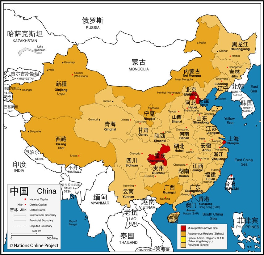 china provinces map