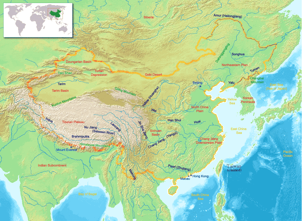 Major river systems and topography