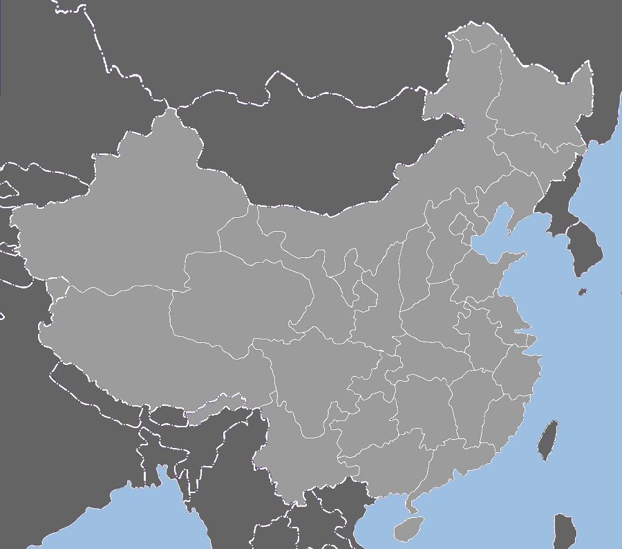 Blank China provinces map