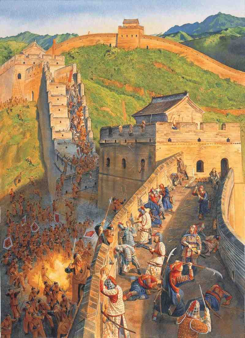 A painting of war on the Great Wall of China