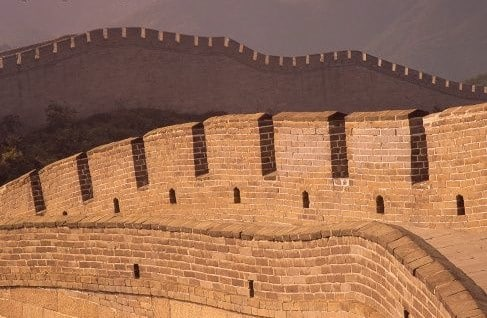 A close up of the Great Wall's architecture
