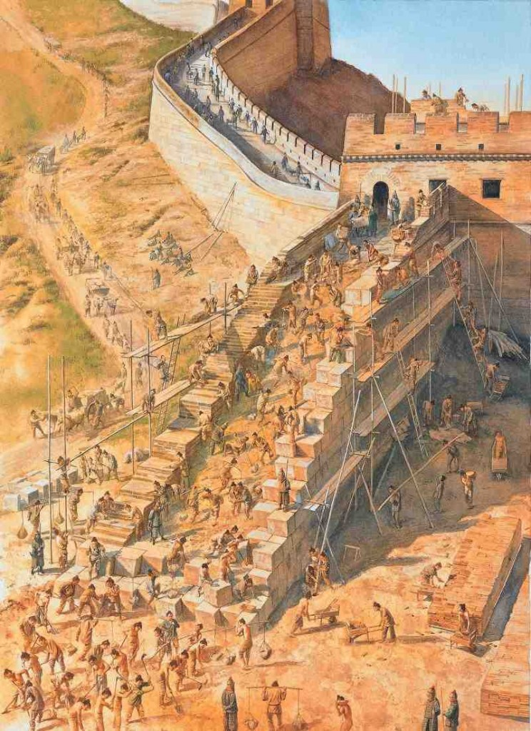 The building of the Great Wall of China