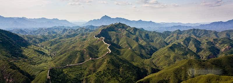 The rolling terrain on which the Great Wall of China was built.