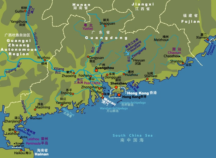 Map of Guangdong, the province where Guangzhou is located in China.