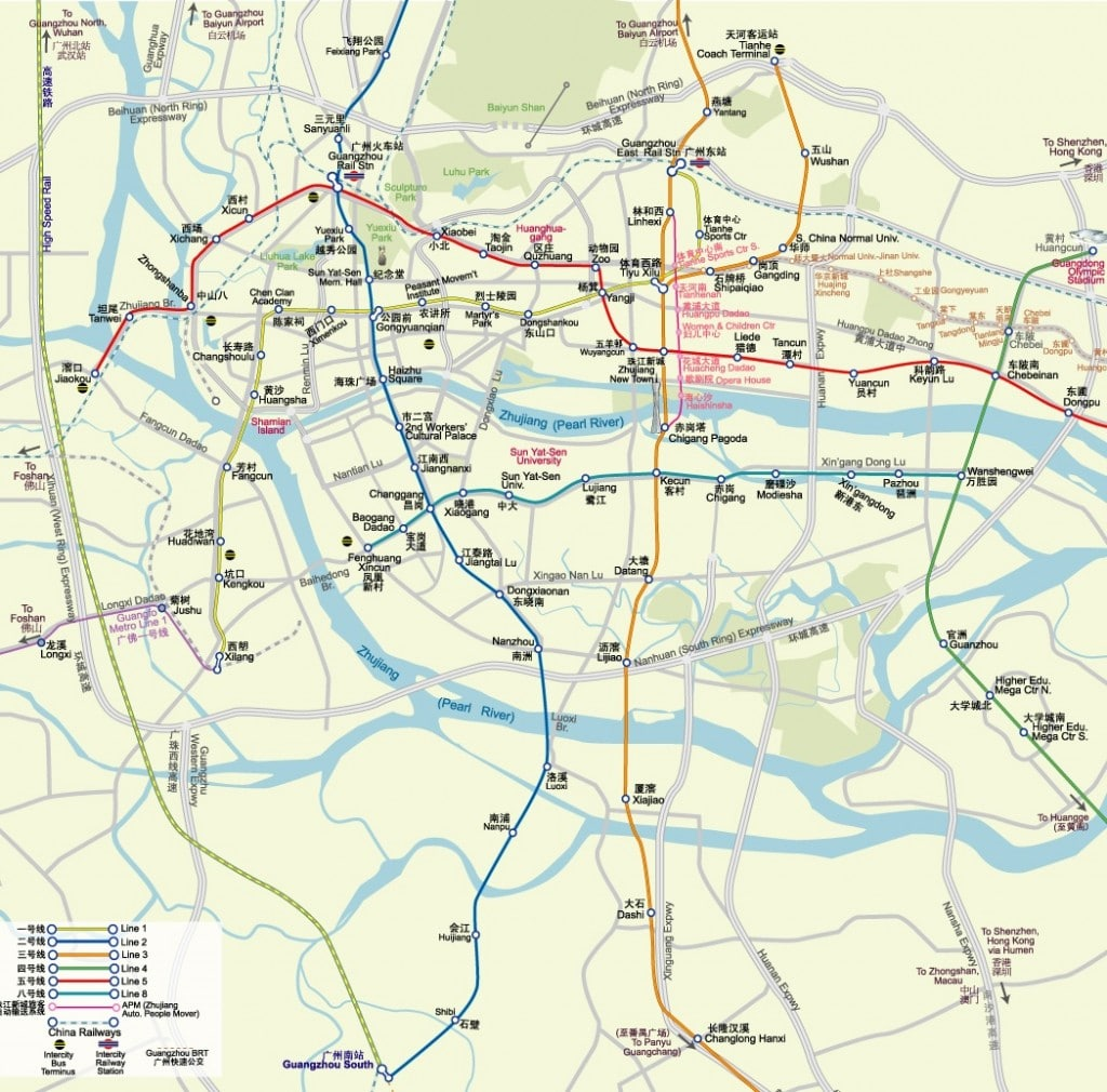 An older Guangzhou metro map overlaid on the city.