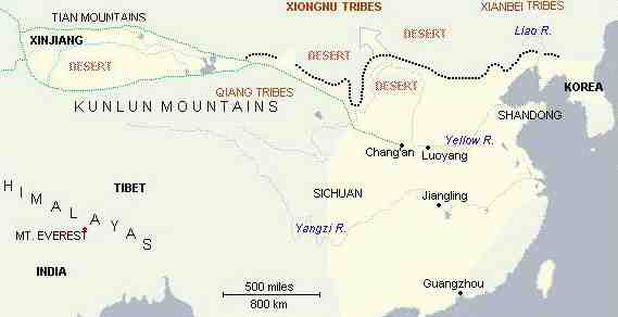 A map of the Great Wall of China during the Han Dynasty