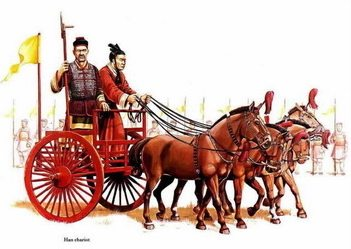 Chinese warriors on horse and buggy