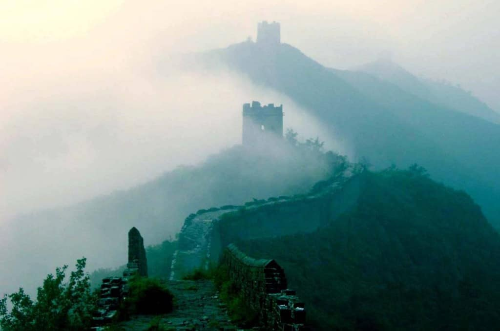 The Great Wall of China in fog