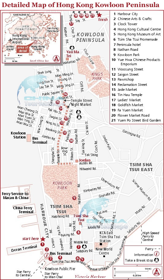 Detailed map of Hong Kong Kowloon Peninsula tourist map showing top attractions & transportation
