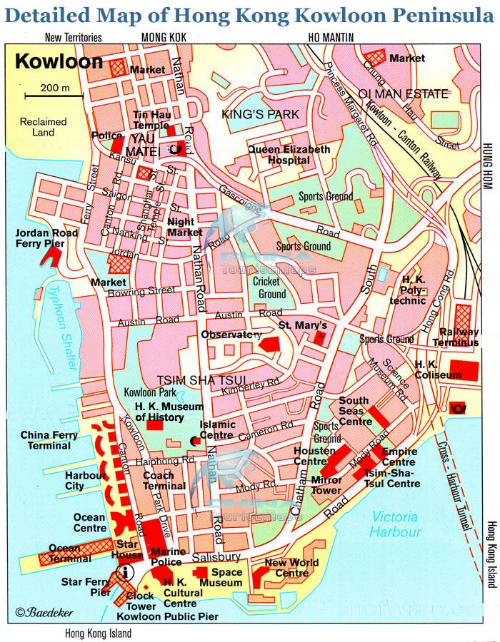 Detailed Map of Hong Kong Kowloon Peninsula's landmarks