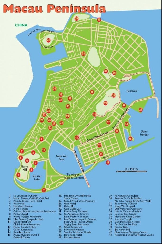Macau travel map 2010-2011| Printable Macau tourist maps