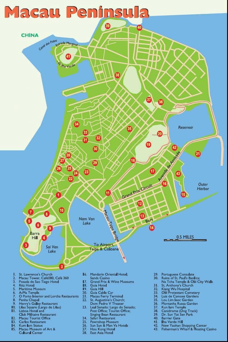 Macau tourist map showing restaurants, hotels, attractions