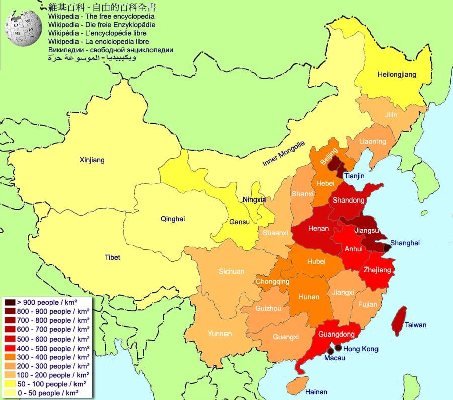 China population density map by province