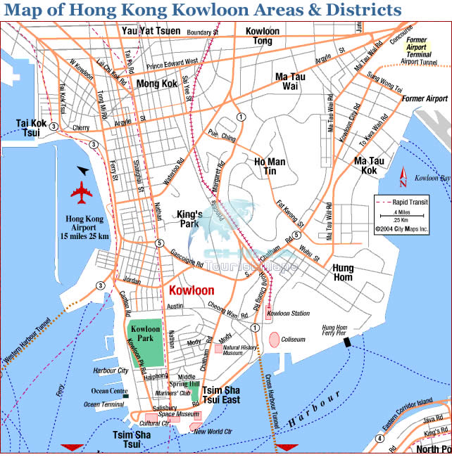 A mapf of Hong Kong Kowloon Areas & Districts