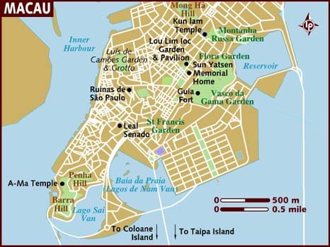 Macau travel map listing major tourist attractions