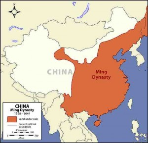 Map of China displaying the land under rule during the Ming Dynasty