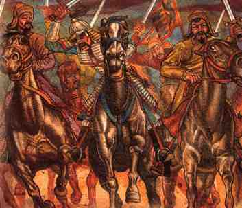 Mongols charging on horseback