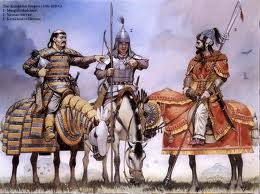 A painting of Mongol warriors on horses