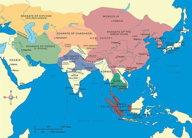 Map of East Asia, hi-lighting Chinese regions