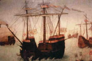 Painting of sailing ships