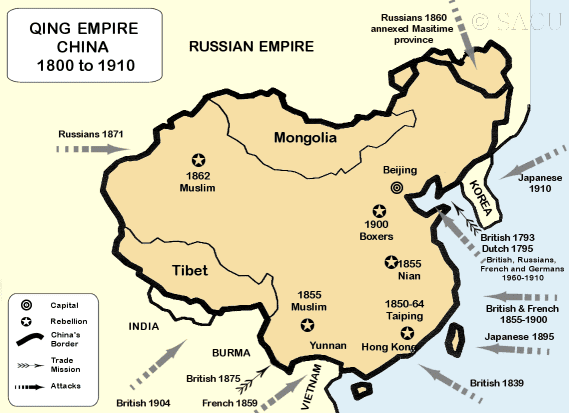 A map of the Qing Empire, China, from 1800-1910