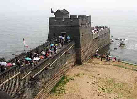 The Great Wall of China ending in the sea