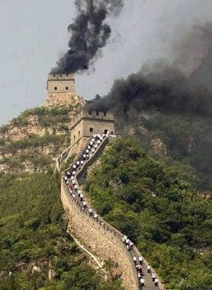 Beacon fires on the Great Wall of China
