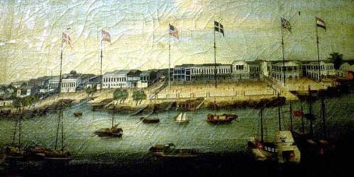 A painting of the port of Canton.