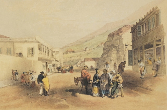 A painting of a Chinese merchant street.