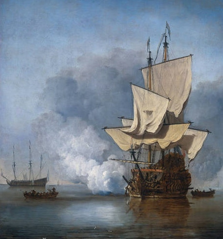A painting of a merchant ship in the sea.