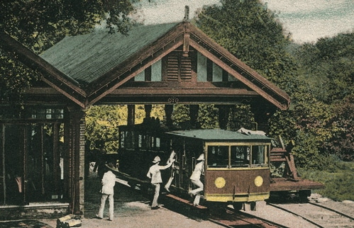 A painting of the Peak Tram
