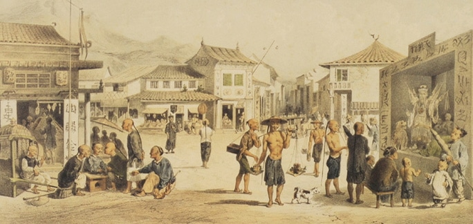 A painting of the Queen's Town settlement
