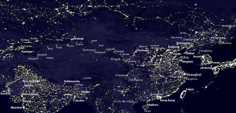 China Lights Up China Urbanization Night Maps Share The City - World satellite map lights